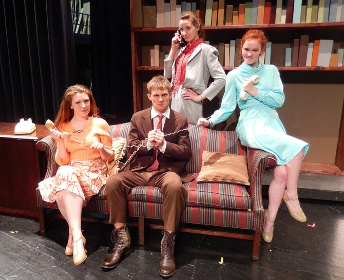 "All tied up: Rehearsing ""9 to 5"" are (from left) Emily Ennis, Doug Klain, Caroline Silas and Amanda Harvey."