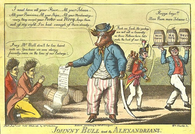 Cartoonist William Charles created this cartoon in 1814, mocking the City of Alexandria for acting cowardly in the face of the British invasion.