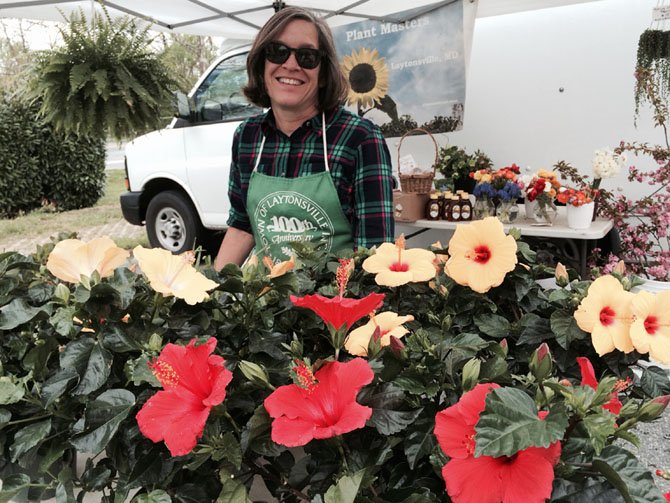 The Potomac Village farmers market opened on Thursday, May 1. Carole Carrier of Plantmasters offers hanging flower baskets, cut flowers and plants for herb gardens.