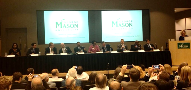 All 10 candidates for the Democratic primary to replace longtime U.S. Rep. Jim Moran (D-8) gather at George Mason School of Public Policy in Arlington this week.