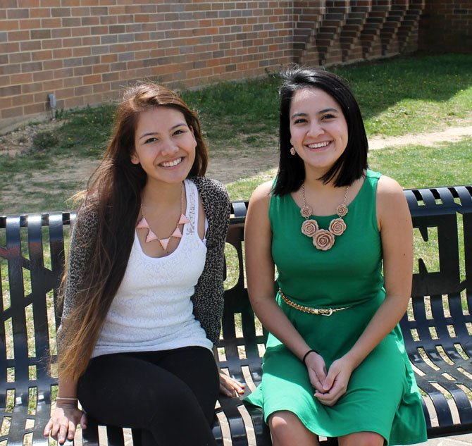 Claudia Torres and Carolina Castedo, seniors at Robinson Secondary School and members of the school's Latin American Student Association, received scholarships from the Hispanic Leadership Alliance.