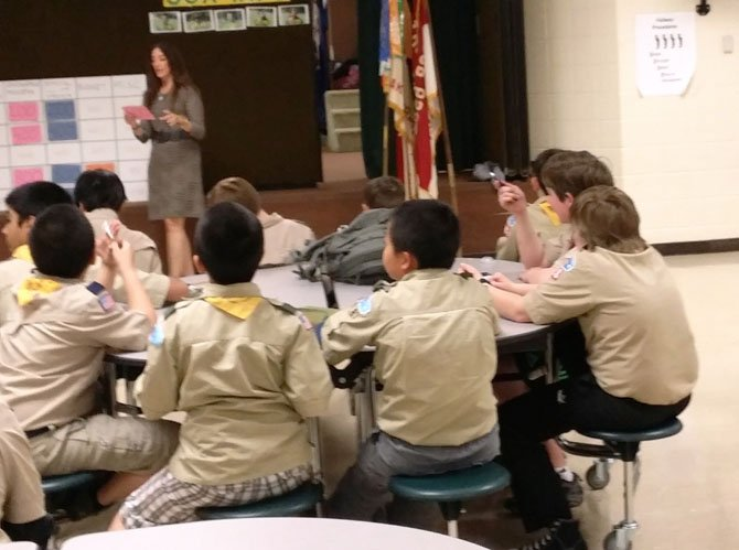Del. Eileen Filler-Corn (D-41) visits with Scout Troop 698 of Burke to talk about civics and the Virginia General Assembly.