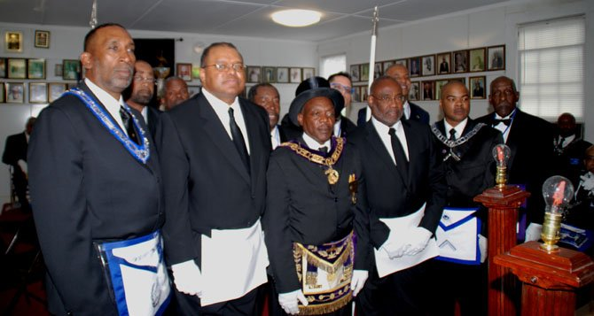 Past Master Wright, Chief Earl Cook, Most Worshipful Prince hall Grandmaster Shelton Riddick, Mayor Euille, Universal Lodge 1 Prince Hall Worshipful Master Al-Haddid Rollins and Past District Grand Master Richard L Williams. Second Row Past Masters Jacobs, Banks and Funderburke. Also Senior Warden Jamie Flores and Junior Stewart McArthur Myers.