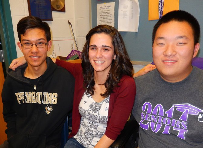 From left are Ryne Sieski, Hannah Watts and Andrew Kim.