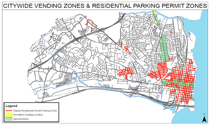 Food Trucks would be allowed in the yellow vending zones, where they would have designated parking, as well as white zones, where they would have to obey existing parking rules. They would be prohibited from green zones and red zones.
