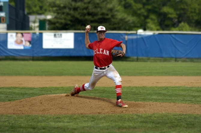 McLean senior Joey Sullivan pitched a three-hit shutout against South Lakes during the Conference 6 quarterfinals on Saturday afternoon.