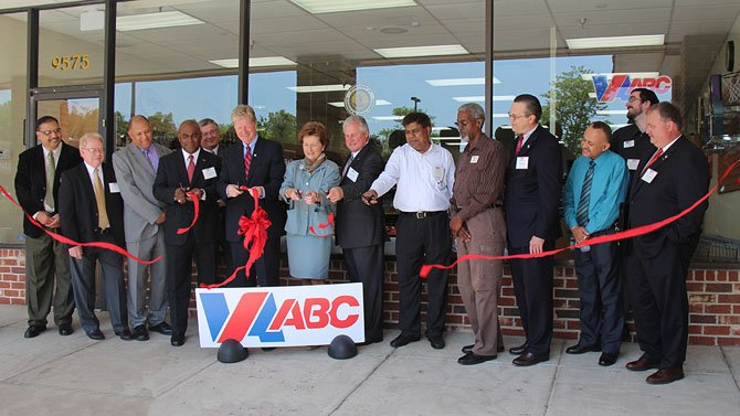 Virginia Secretary of Public Safety and Homeland Security Brian Moran and Virginia ABC Commissioner Judy Napier helped cut the ribbon during the grand opening event for the new Twinbrooke ABC store (9575 Braddock Rd.).