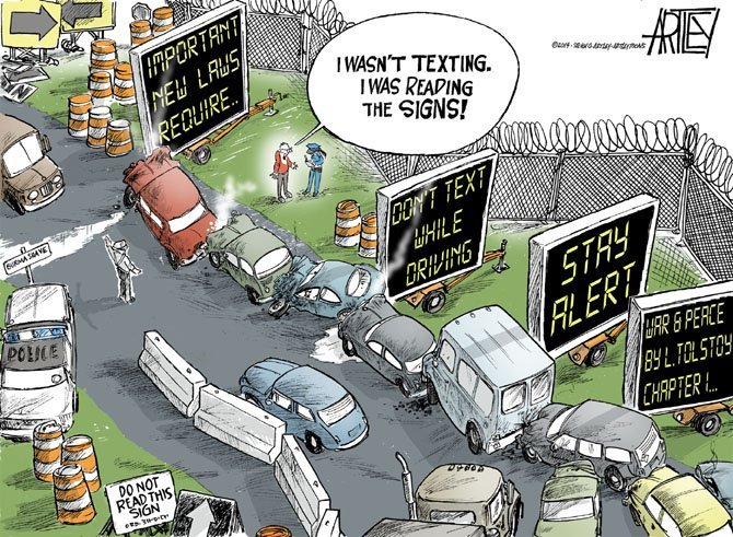 Texting while driving signs