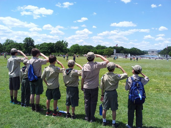 Troop 55 Scouts salute the Lincoln Memorial during the Inaugural Baden-Powell Hike in Washington DC. From Left to Right: Valin Singh, Christian McCann, Brandon Boose, Lucas Andersen, Misha Somogyi, Alex Holman, James Ye, Jason Jin.