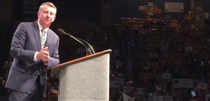 Former Republican National Committee Chairman Ed Gillespie addresses delegates at the Roanoke Civic Center.