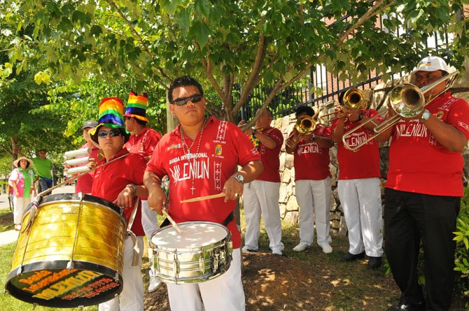From Santa Cruz Bolivia, the Crucena Band Milenium warm up for the start of the parade on Saturday afternoon.