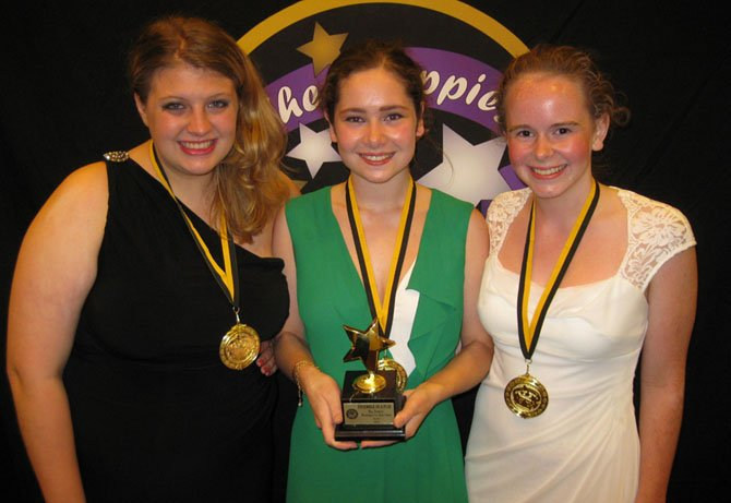 "The award for Best Ensemble in a Play went to The Sisters from ""Macbeth"" – Bailey Kowalski, Carly Greenfield and Kathryn Humphries, from Washington-Lee High School in Arlington."