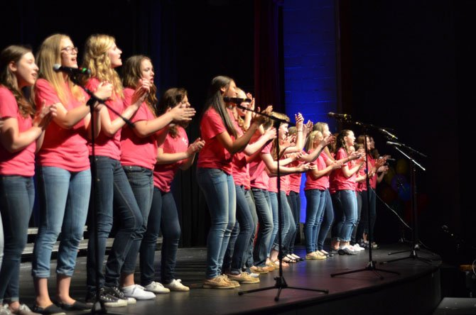 The Sheebees, Herndon High's all-female a cappella performance group ensemble performed several songs at the Pops Concert.