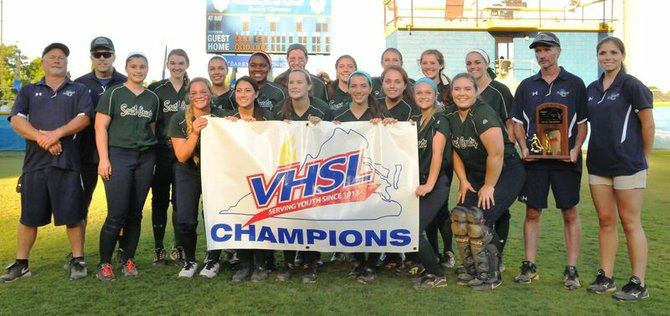 The South County softball team won the 6A state championship with a 4-1 victory against Cosby on June 15.