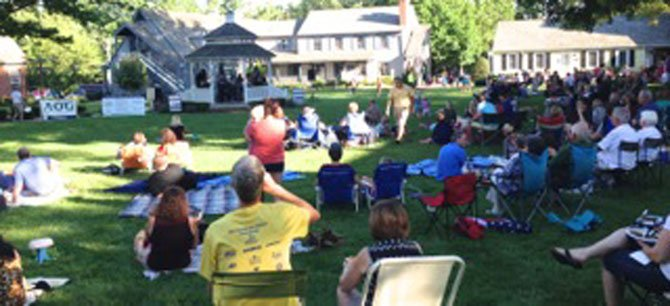 Attendees relax and have picnics on the green while they listen to Daryl Davis's rockabilly blues.