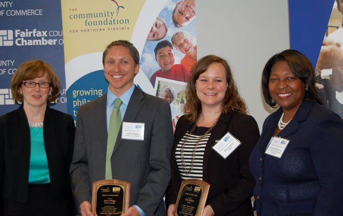 "Eileen Ellsworth, president of the Community Foundation of Northern Virginia, Justin Obbagy and Kelly Waldron of Deloitte, and Rosie Allen-Herring of United Way pose after presenting ""Supporting our Region's Veterans,"" a report looking at the needs of veterans in the area."