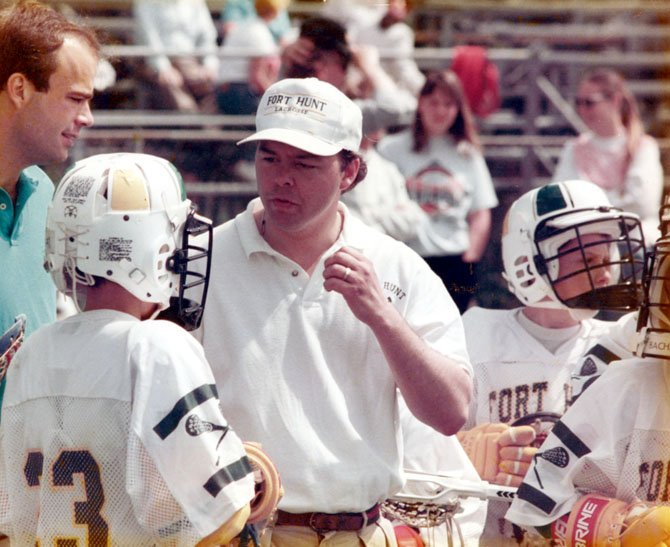 Formerly the commissioner of the league, Craig Shirley coaches Fort Hunt Lacrosse in the mid 1990s.