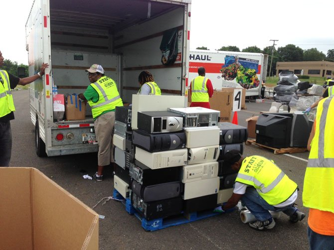 Used and old electronic gear unloaded at the Lorton I-95 Recycling and Disposal Center. Many electronic devices have metal which can be harmful to the environment if not recycled or disposed of properly.