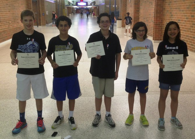 Robinson seventh graders who received DAR awards.