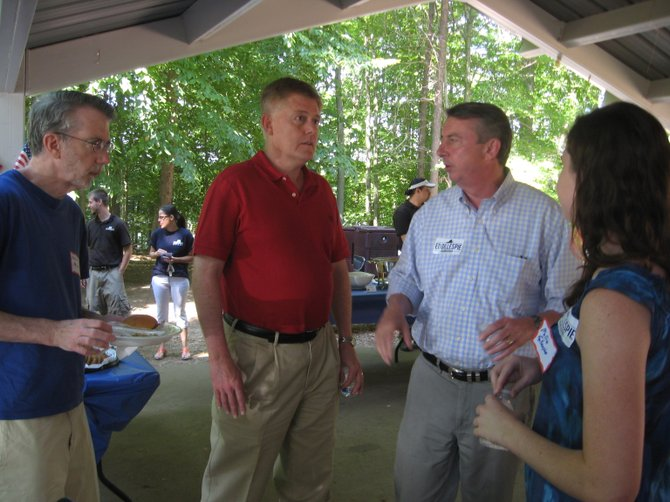 U.S. Senate Candidate Ed Gillespie (second from right) and daughter Mollie chat with Braddock District Supervisor John Cook and Consultant Kevin Morse of Burke.