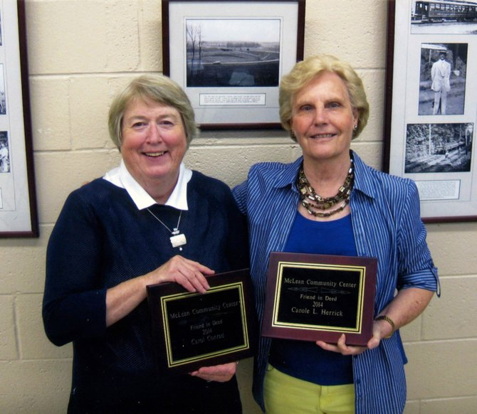 Carol Conrad (left) and Carole Herrick received Friends of the McLean Community Center's 2014 Friend in Deed award.