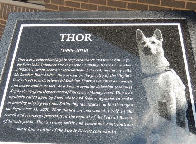 The memorial outside the Fair Oaks District Station tells Thor's story.