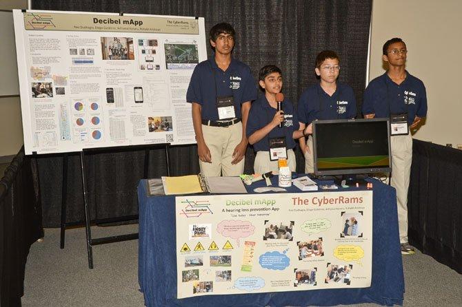 CyberRams presenting at the eCYBERMISSION National Showcase are, from left, Adityasai Koneru, Ravi Dudhagra, Diego Gutierrez and Rishabh Krishnan.