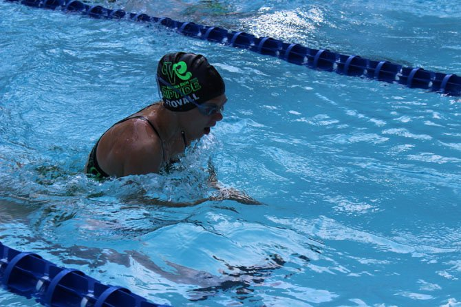 Lauren Stovall powers through the breaststroke.