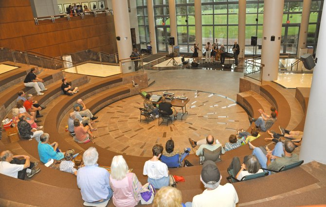 The crowd filled the steps of the Fairfax Government Center to take in the bluegrass concert.