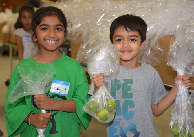 """Happy to help, from left, Sanya Baig and Humza Sait. """"And I can count to 5, then 6,"""" announced young Mr. Sait, proudly showing off some of the bags of limes the five-year-old had filled for the July 3 edition of the Project Food Boost food distribution in Herndon."""