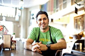 Chef David Guas in Bayou Bakery, Coffee Bar & Eatery in Arlington, his homage to New Orleans, his hometown.