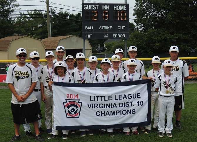 The SYA West Little League 11/12 year old All-Stars captured the District 10 crown after a 10-2 victory against SYA East in the championship game.