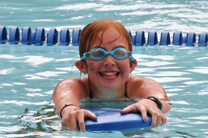 Ellie Schleyer, 12, joined the swimmers at the swimathon