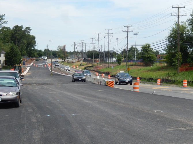 A newly asphalted section of the widened Stringfellow Road between Chantilly High and Rocky Run Middle School.