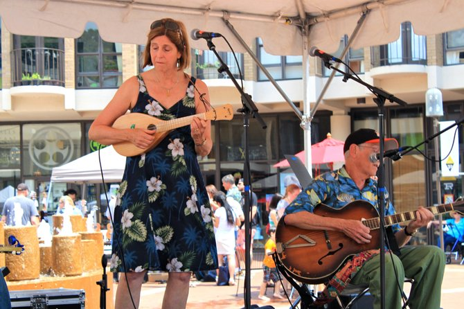 Kathy and Merv from Rockville during their set at the Lake Anne Ukulele Festival Saturday.