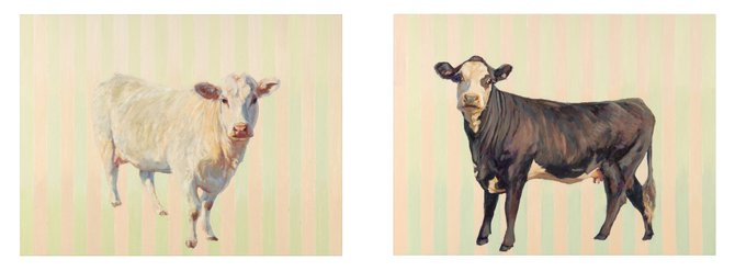 "Nancy Bass, Anniebelle and Patch, 2014, oil on panel, 18"" x 50"" x 2"""