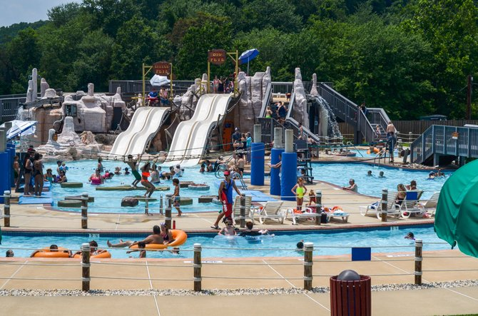 The Water Mine outdoor pool at Lake Fairfax Park in Reston has been a big attraction since it opened in 1997. Expansion of the pool is expected to begin once the pool closes in September.