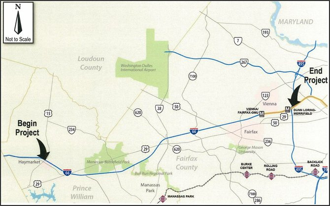 This map demonstrates the area where express lanes and other improvements will be made along Interstate 66.
