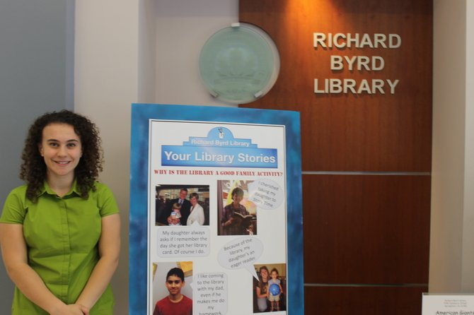 "Springfield resident Eleanor Lamb, a graduate of West Springfield High School, has been spending her time as an Exon-Mobil Intern with the Friends of the Richard Byrd Library collecting personal stories for the group's ""Library Stories"" project."