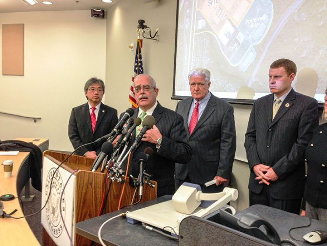 Elected officials speak at an event to renew interest in Springfield as the location of the new FBI headquarters in December 2013.