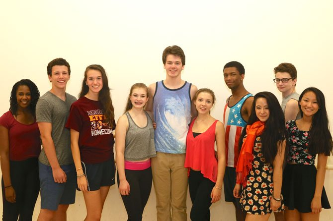 """Legally Blonde: The Musical"" rehearsal picture. From left -- Nakya Fenderson, Hank Von Kolnitz, Halle Kaufax, Lexi Rhem, Ben Cherrington, Roxy Matten, Chad Vann, Kyra Smith, Will Everett, Lizzy Rader."