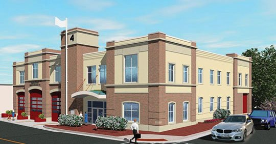 Image of proposed new fire station at which will be constructed on Spring Street.
