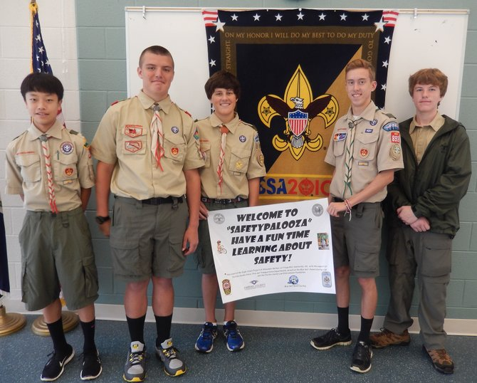 From left: Boy Scouts Skyler Chong, Alex Battani, Austin Huehn, Kyle Talley and Ian LaChapelle participated in the Safetypalooza.