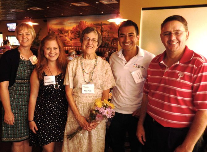 From left are Terry Angelotti, Molly Maddra, Alice Foltz, Roberto Fernández and Michael Frey at the celebration.