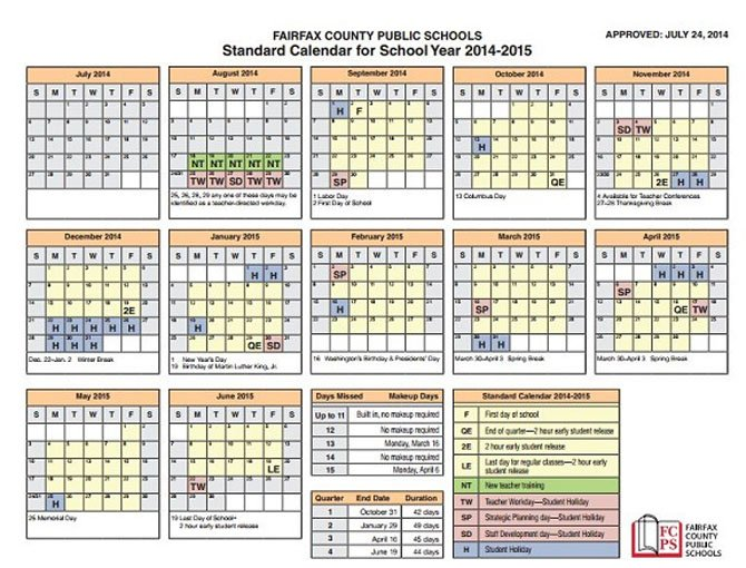 The Fairfax County School Board approved the 2014-2015 calendar on July 24, which includes full day Mondays for elementary school students and a change from a 180-day school year to a 990-hour school year.