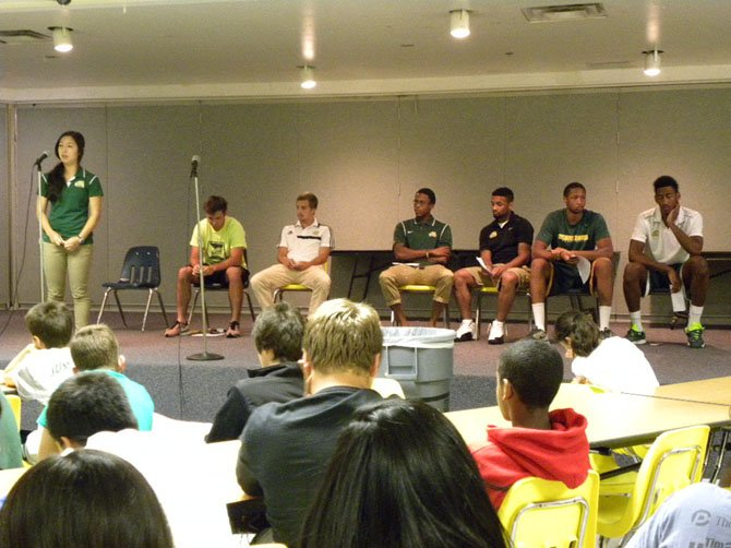 From left – GMU student athletes Stephi Matsushima, Taylor Washington, Brian Colcombe, Anthony Williams, Corey Edwards, Julian Royal and Jalen Jenkins talk about the challenges they overcame in school and sports on Thursday, July 31 at Robinson Secondary School.