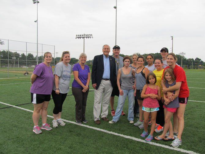 State Sen. Dave Marsden (D-37) attended the VYI Mom's football camp for Vienna-Oakton area on Friday, Aug. 1, to talk football safety with parents and coaches. Marsden, center, is standing with VYI commissioner and coach Dr. Todd Casey and moms who sweated it out during football camp.
