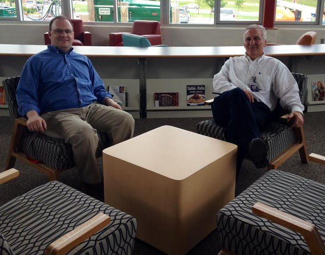 From left – Marshall High School's new Principal Jeff Litz and Assistant Principal Dan Daus in the school's brand new library that was inspired by a Barnes & Noble bookstore.