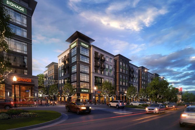 Artist's rendition of one of the mixed-use buildings planned for Fairfax Boulevard. Shops and restaurants are at street level, with apartments above.