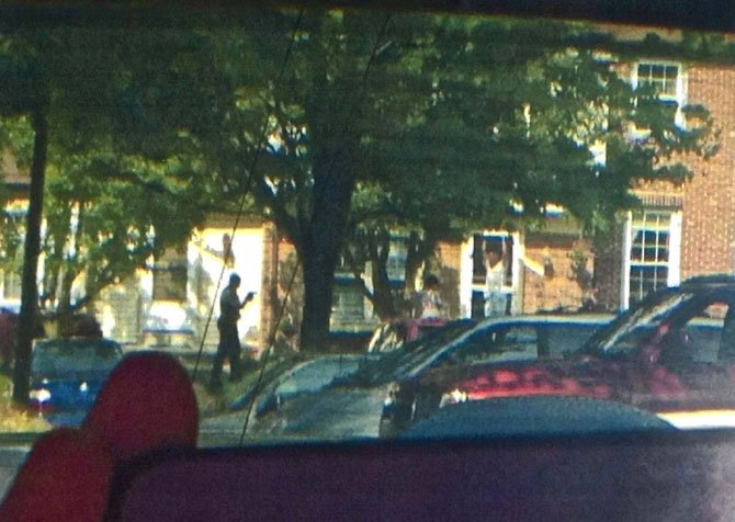 John Geer, standing in his doorway, minutes before he was shot by a Fairfax County Police officer.